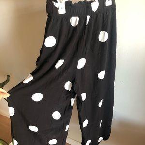 Oysho Polka Dot wide pants with pockets